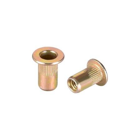 M3 Carbon Steel Rivet Nuts Flat Head Insert Nutsert Yellow Zinc Plated 100 Pcs - image 3 of 3