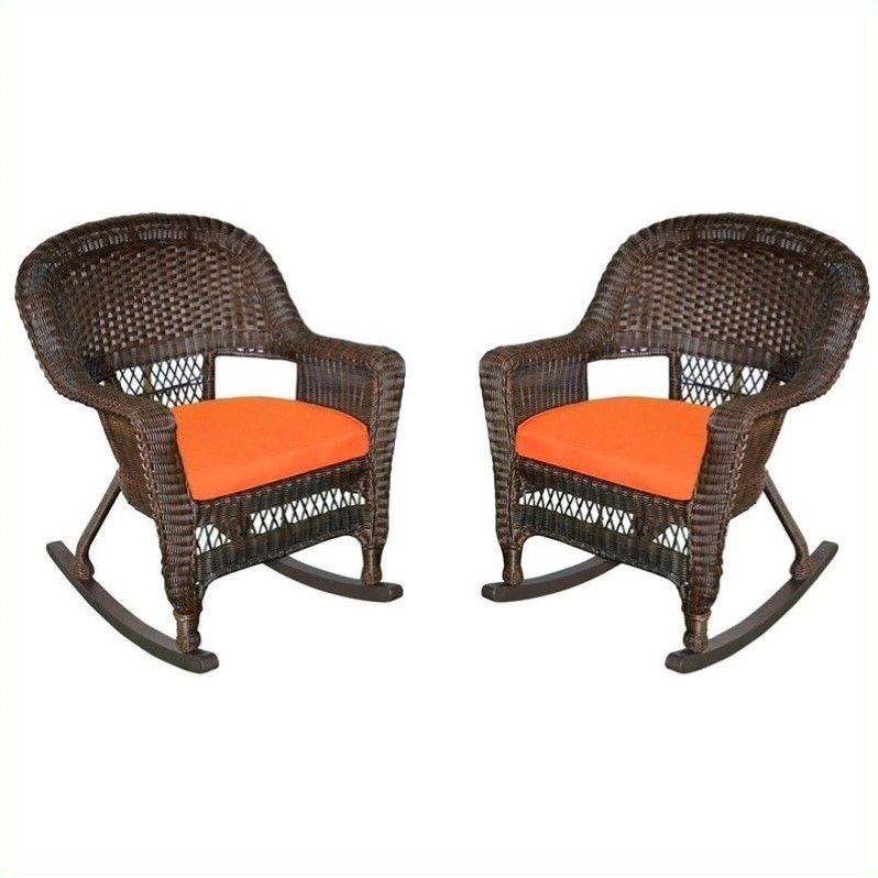 Jeco Wicker Chair in Espresso with Orange Cushion (Set of 4)