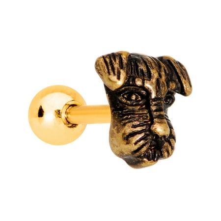 Body Candy Gold PVD Steel Your Best Friend Scottie Dog Tragus Cartilage Earring 16 Gauge (Friend Scottie Dog)