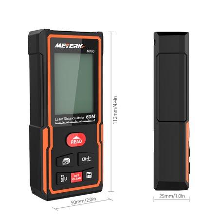 Meterk Handheld Digital Distance Meter Portable Area Volume Measurement  Tool Range Finder High-precision Rangefinder M/In/Ft Data Storage Memory