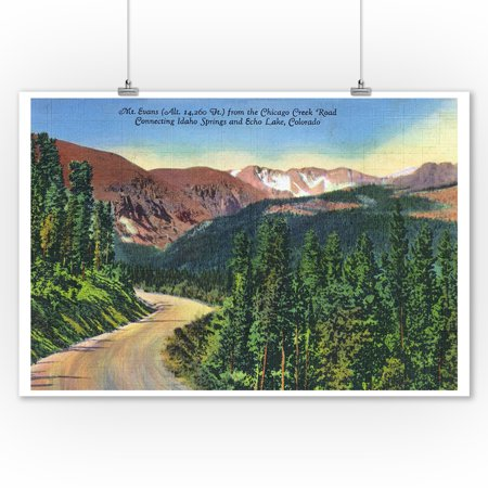 Creek Outdoor Wall Mount (Colorado - Chicago Creek Road View of Mount Evans, near Idaho Springs and Echo Lake (9x12 Art Print, Wall Decor Travel Poster) )