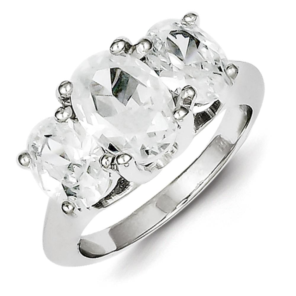 925 Sterling Silver Polished Oval Cut 3 Stone CZ Anniversary Ring Size 7