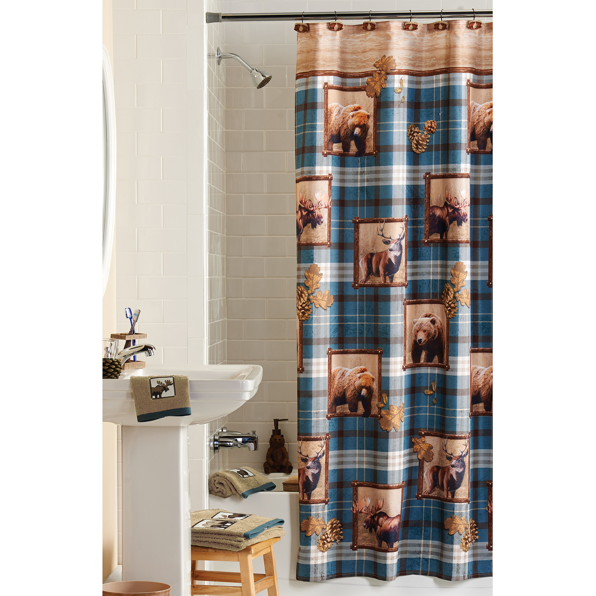 Mainstays Plaid Lodge Shower Curtain