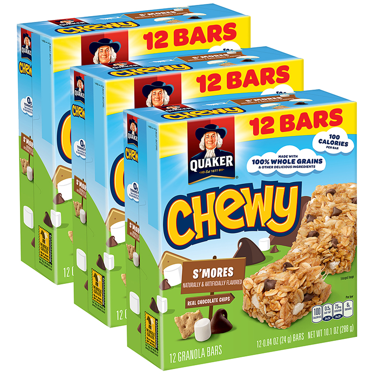 (3 Pack) Quaker Chewy Granola Bars, S'mores, 0.84 oz Bars, 12 count