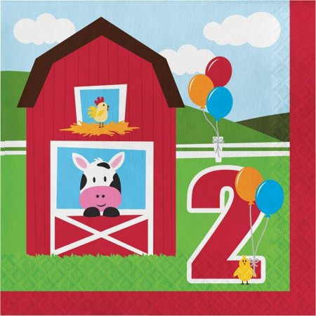 Party Creations Farmhouse Fun 2nd Birthday Lunch Napkins, 18 Ct](Farm Birthday Theme)