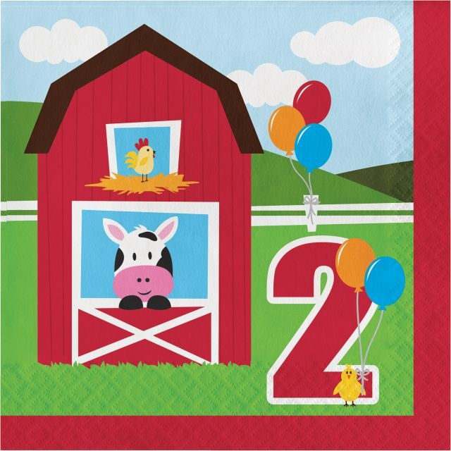 Party Creations Farmhouse Fun 2nd Birthday Lunch Napkins, 18 Ct