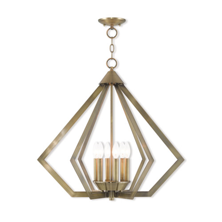Chandeliers 6 Light With Antique Brass Candelabra 26 inch 360 Watts - World of Crystal