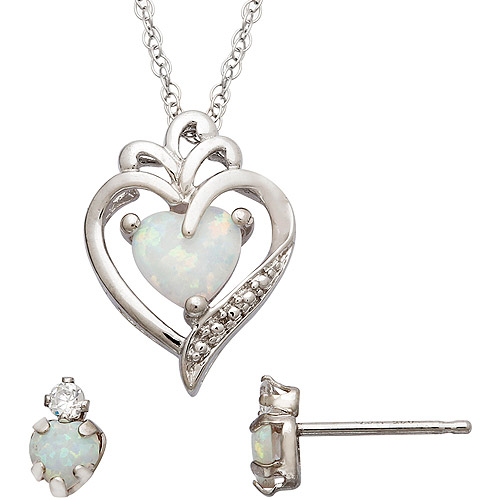 CZ and Simulated Opal Sterling Silver Heart Pendant and Earrings Set