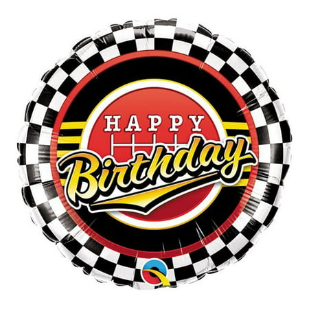 Qualatex 85663 18 in. Happy Birthday Checkered Pattern Flat Foil Balloon - Pack of 5