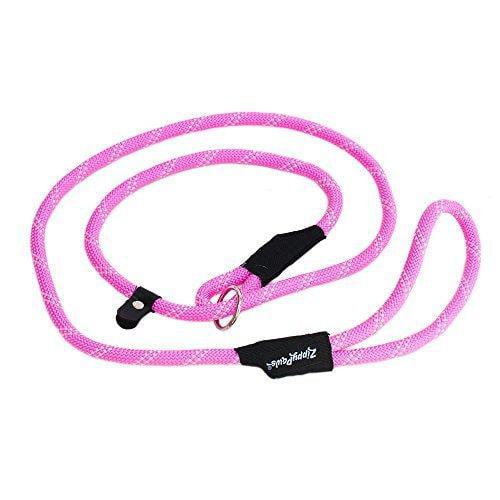 ZippyPaws Climbers Mountain Climbing Rope Leash - Slip Lead 6-Feet (Pink, Slip Lead 6-Feet (12 rope))