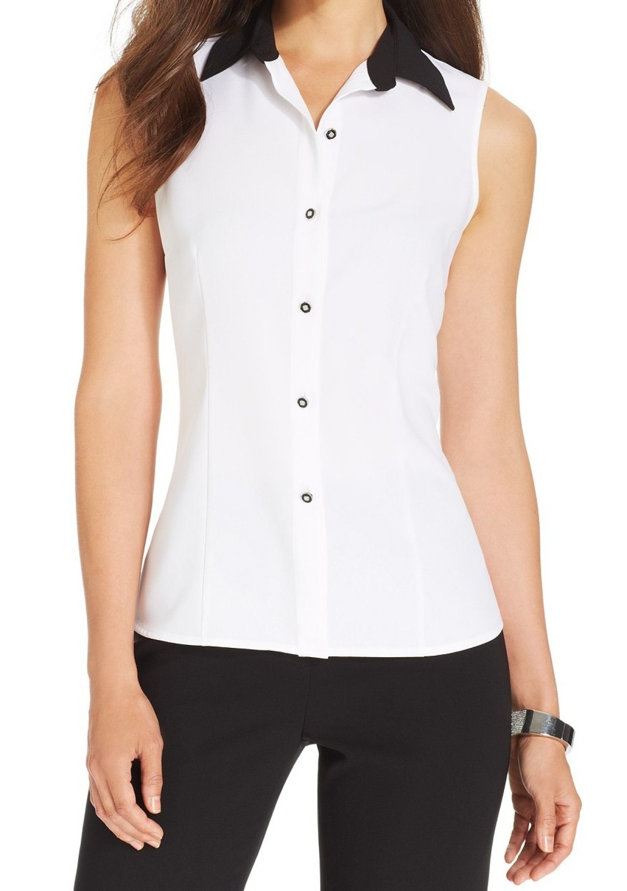 d06585216d83fb Sleeveless White Collared Button Down Shirt - BCD Tofu House