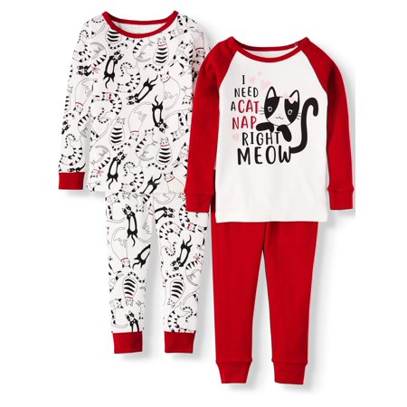 Wonder Nation Toddler Girl Long Sleeve Cotton Snug Fit Pajamas, 4Pc Set
