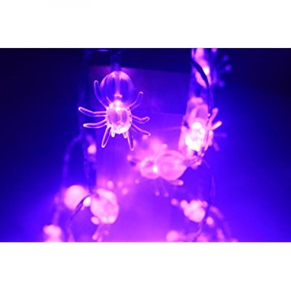 Purple Spider Solar String Lights,40 LED Christmas Purple Spider Decoration Lights with Light Sensor 19.7ft blue bat For Homes Outdoor Garden Holiday Party Wedding (Purple Spider)
