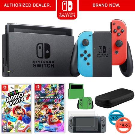 Nintendo Switch 32 GB Console w/ Neon Blue and Red Joy-Con (HACSKABAA) + Gaming & Accessories Bundle Includes, Nintendo Mario Kart 8 Deluxe, Nintendo Super Mario Party, 2-Pack Steering Wheel +