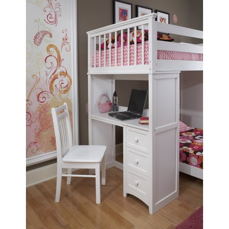 Hillsdale School House Twin Stair Loft With Desk End & Twin Lower Bed, White