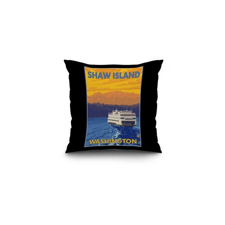 Ferry and Mountains - Shaw Island, Washington - LP Original Poster (16x16 Spun Polyester Pillow, Black Border)