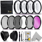 58MM Professional Lens Filter Accessory Kit (UV FLD CPL) ND Filters Set (ND2 ND4 ND8) 4 Close-up Macro Filters (+1 +2 +4 +10) + Hard Lens Hood, Rubber Lens Hood + Xtech Lens Accessories Starter Kit