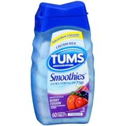 TUMS Smoothies Tablets Berry Fusion 60 Tablets (Pack of 2)
