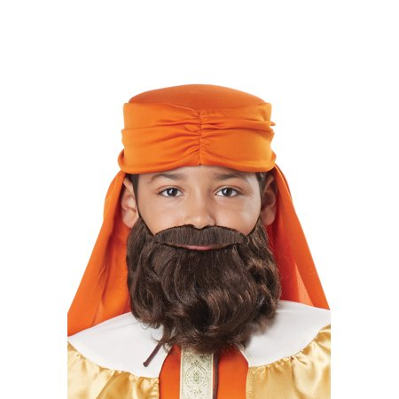 Wise Man Child Beard and Moustache (Brown) - Male Halloween Makeup With Beard
