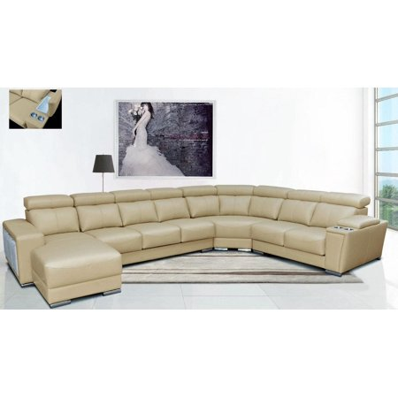 Astounding Esf 8312 Modern Beige Leather Sectional Sofa W Sliding Seats Left Hand Chase Evergreenethics Interior Chair Design Evergreenethicsorg