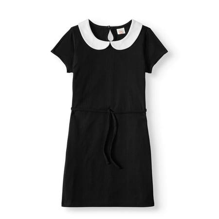 Short Sleeve Collar Dress With Tie Waist (Little Girls & Big - Girls Dresses With Sleeves