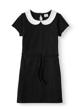 Short Sleeve Collar Dress With Tie Waist (Little Girls & Big Girls)