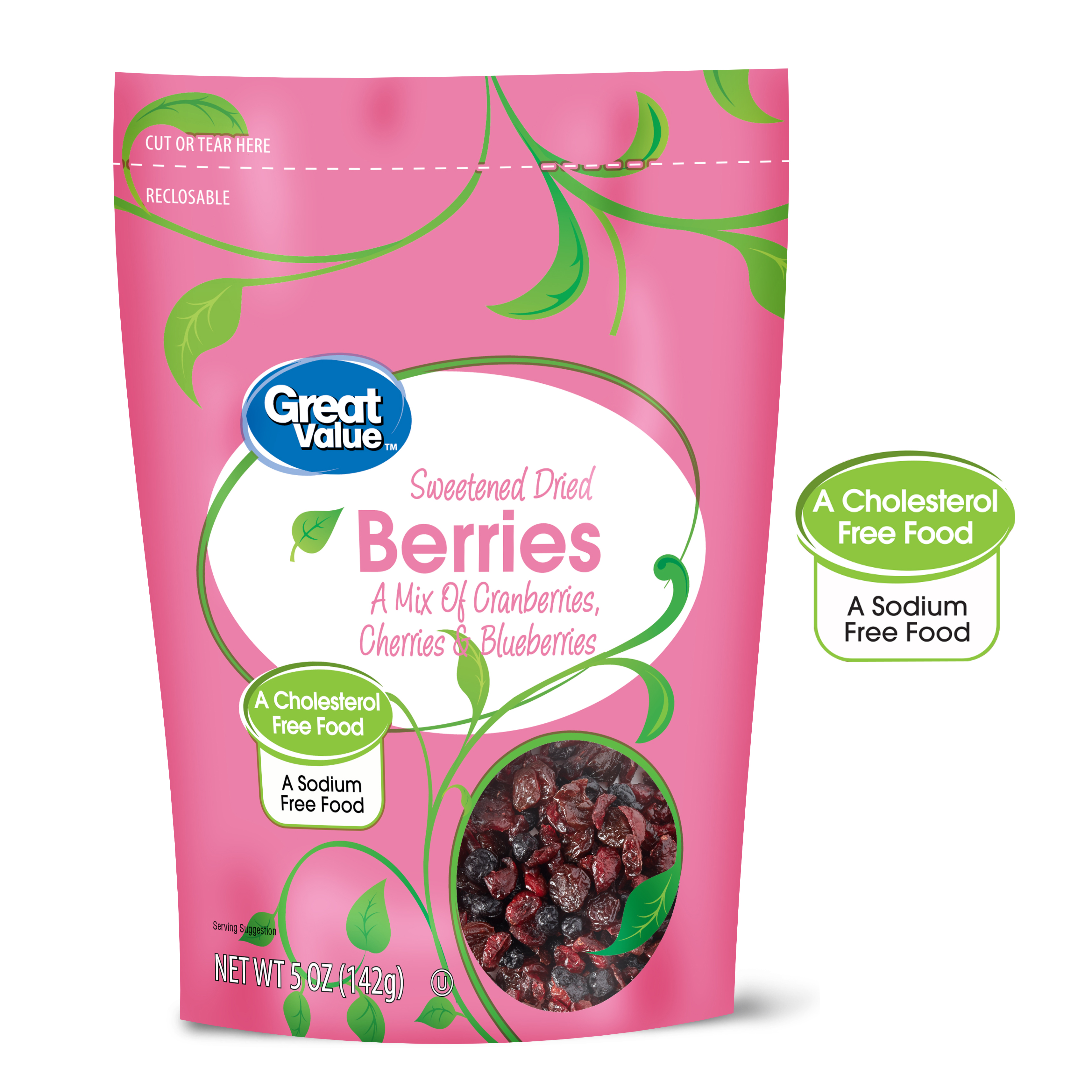 (3 Pack) Great Value Sweetened Dried Mixed Berries, 5 oz