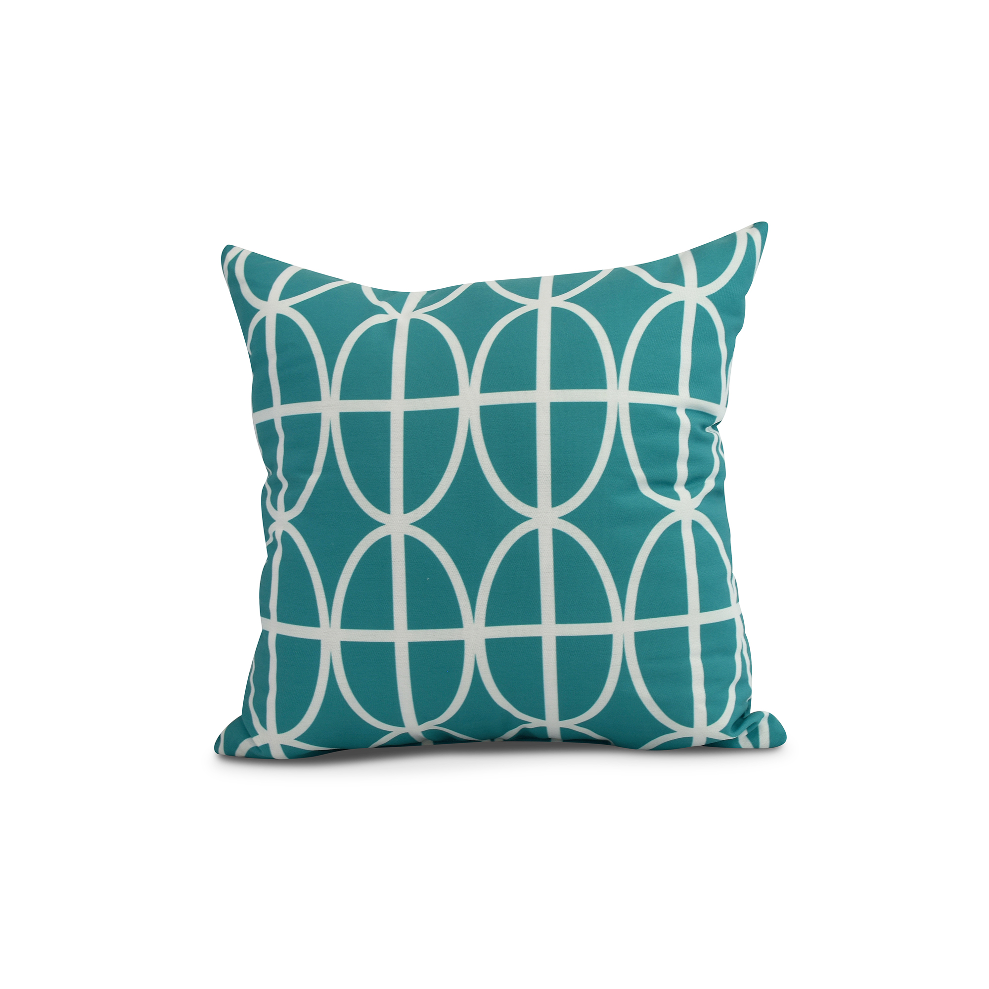 Simply Daisy, 20 x 20 inch, Ovals and Stripes Geometric Print Pillow, Blue