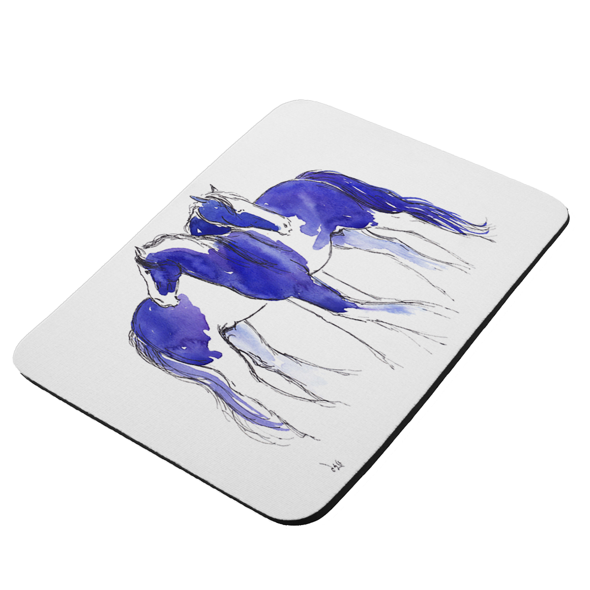 Piebald Gypsy Cobs in Purple and Blue Abstract Horse Art by Denise Every - KuzmarK Mousepad / Hot Pad / Trivet