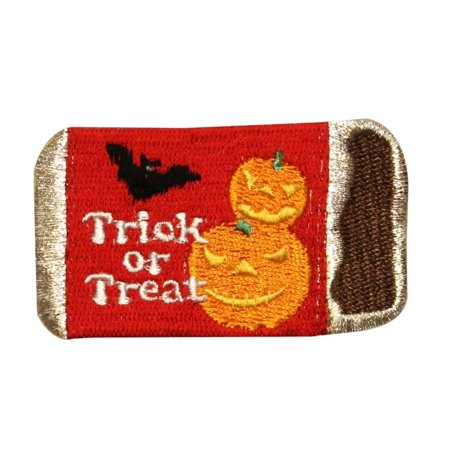 ID 0847 Candy Bar Trick Treat Patch Halloween Night Embroidered Iron On Applique - Candy On Halloween