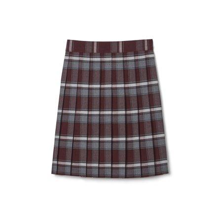 French Toast Big Girls Plus School Uniform Adjustable Waist Mid Length Plaid Pleated Skirt (Plus) ()