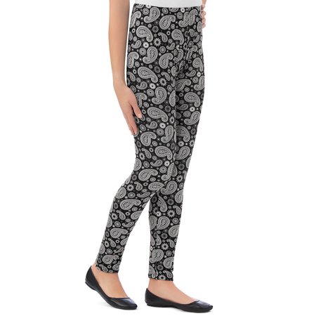 Women's All-Over Black and White Paisley Print Stretchy Knit Leggings with Elastic Waistband, Medium, Black - Made in the USA (Black Paisley Printed)