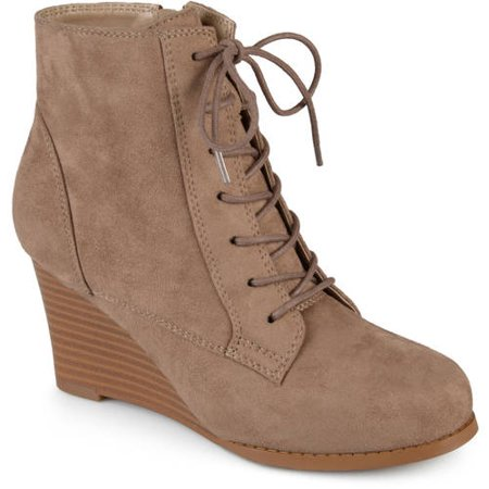 e0b9e29c7f6 Brinley Co. - Womens Lace-up Faux Suede Stacked Wedge Booties ...