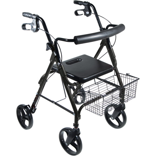 "Drive Medical DLite Lightweight Walker Rollator with 8"" Wheels and Loop Brakes, Midnight Black"