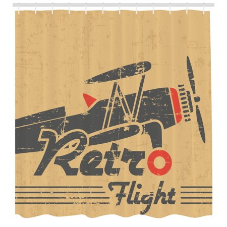 Vintage Airplane Shower Curtain Retro Flight Emblem With Old Plane Stripes Grunge Style Fabric