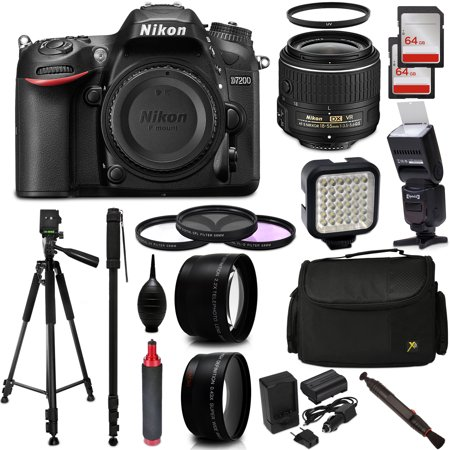 b5d24333a Nikon D7200 24.2 MP DX-Format WiFi DSLR Digital Camera with 18-55mm + 2  Auxiliary Lenses + Filter Kit + 128GB Memory + Flash + Video Light +  Extended ...