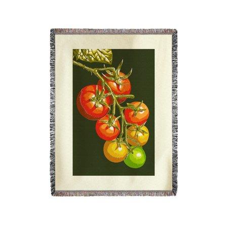 Tomato Press - Tomatoes - Letterpress - Lantern Press Poster (60x80 Woven Chenille Yarn Blanket)