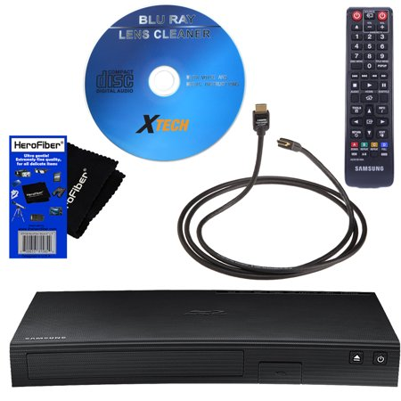 Samsung BD-J5900 Curved, Wi-Fi and 3D Blu-ray Disc Player with Remote Control + Xtech Blu-Ray Disc Laser Lens Cleaner + Xtech High-Speed HDMI Cable with Ethernet + HeroFiber Ultra Gentle Cleaning Clot