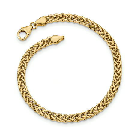 14k Yellow Gold Link Bracelet 7.5 Inch Fancy Fine Jewelry For Women Gift Set (14kt Gold Italian Designer Bracelet)