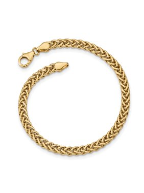 14k Yellow Gold Link Bracelet 7.5 Inch Fancy Fine Jewelry For Women Gift Set
