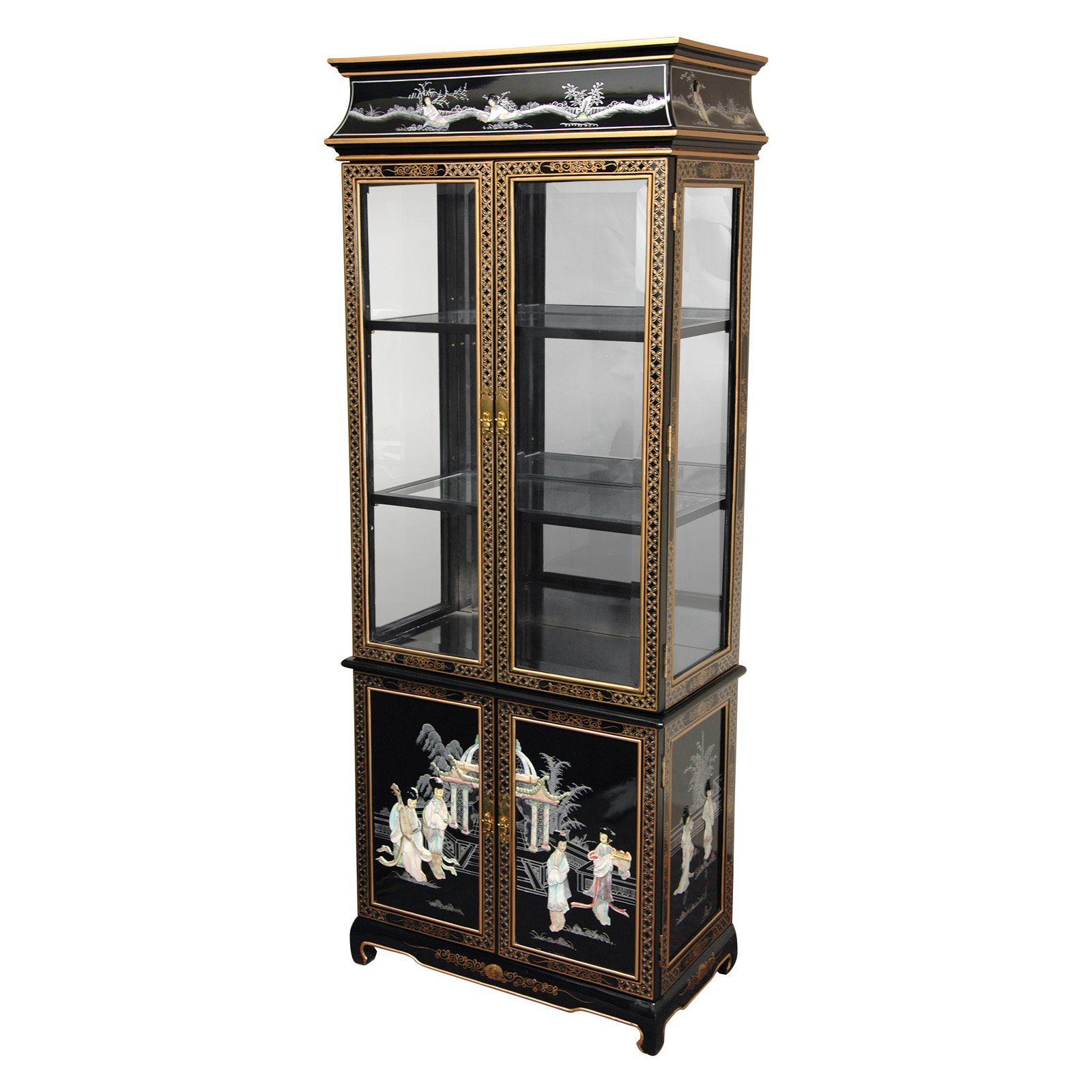 Lacquer Curio Cabinet, Black Mother of Pearl Ladies by Oriental Furniture