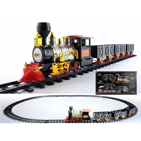 20-Piece Black and Red Battery Operated Lighted & Animated Classic Train Set with Sound (Battery Black Light)