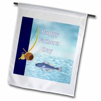 3dRose Happy Fathers Day with Fishing Pole and Water Polyester 1'6'' x 1' Garden Flag