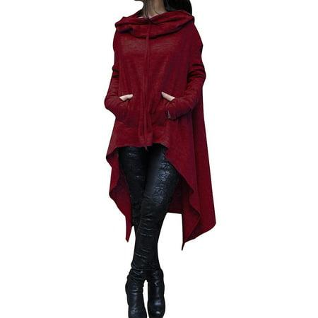 Newstar Hoodies Sweatshirt for Womens, Long Sleeve Pullover Hoodies Tops with Pocket for Women, N0218WRM Outwear Hooded Blouse Jumper Coat for Women, (Wine Red, M-5XL) Diablo Wind Jacket