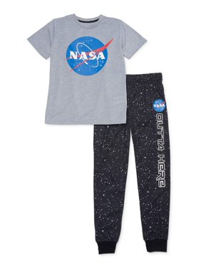 Sleep On It Boys 6-14 Nasa Joggers with Short Sleeve 2-Piece Pajama Set
