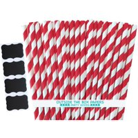 Red and White Striped Paper Straws  100 Pack