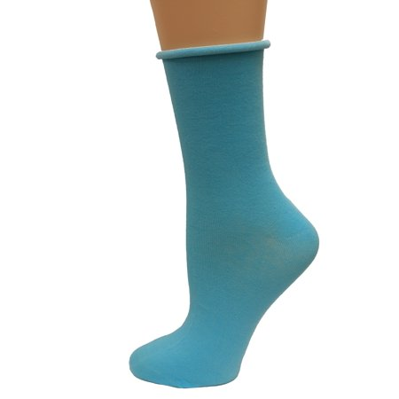 K. Bell Relaxed Top Crew Socks, Light Turquoise, Sock Size 9-11/Shoe Size 4-10, 1
