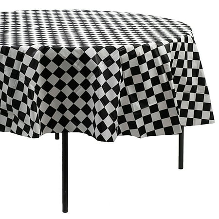 Black And White Checkered Tablecloth (Black & White Checkered Round Table)
