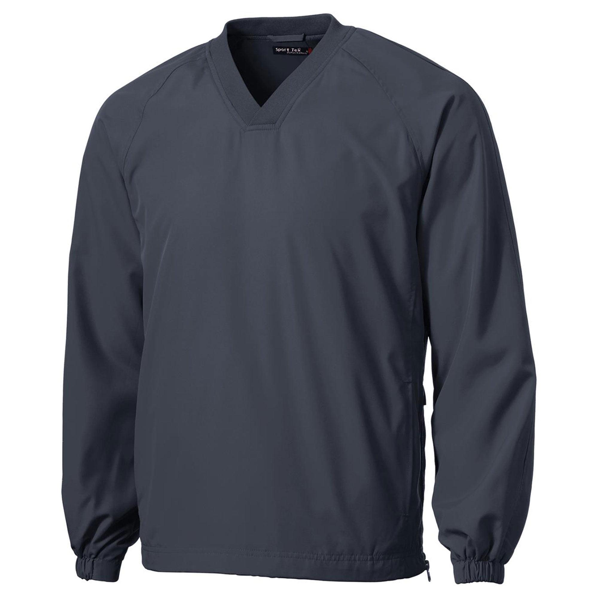 Sport-Tek Men's Rib Knit V-Neck Collar Soft Raglan Wind Shirt