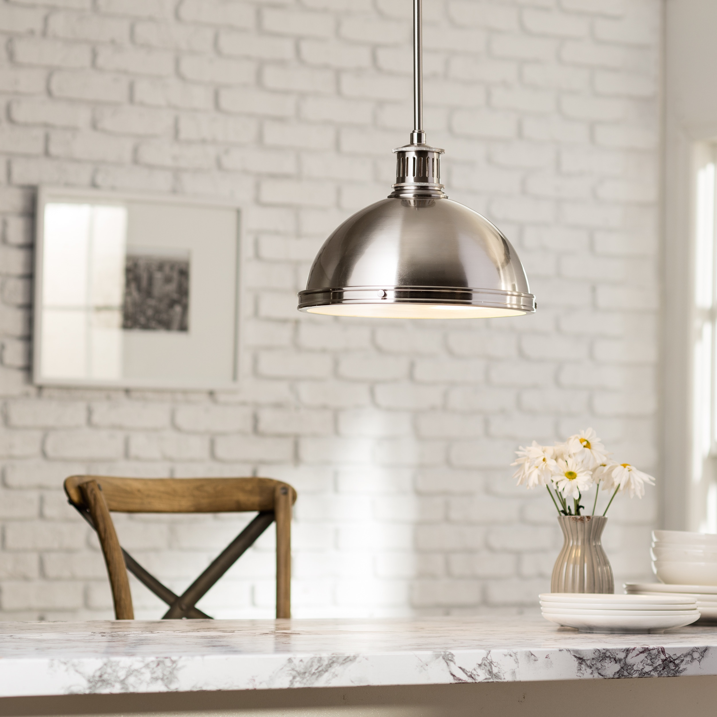 Sea Gull Lighting Pratt Street Metal 2-light Brushed Nickel Pendant with Glass Diffuser & Sea Gull Lighting Pratt Street Metal 2-light Brushed Nickel Pendant ...